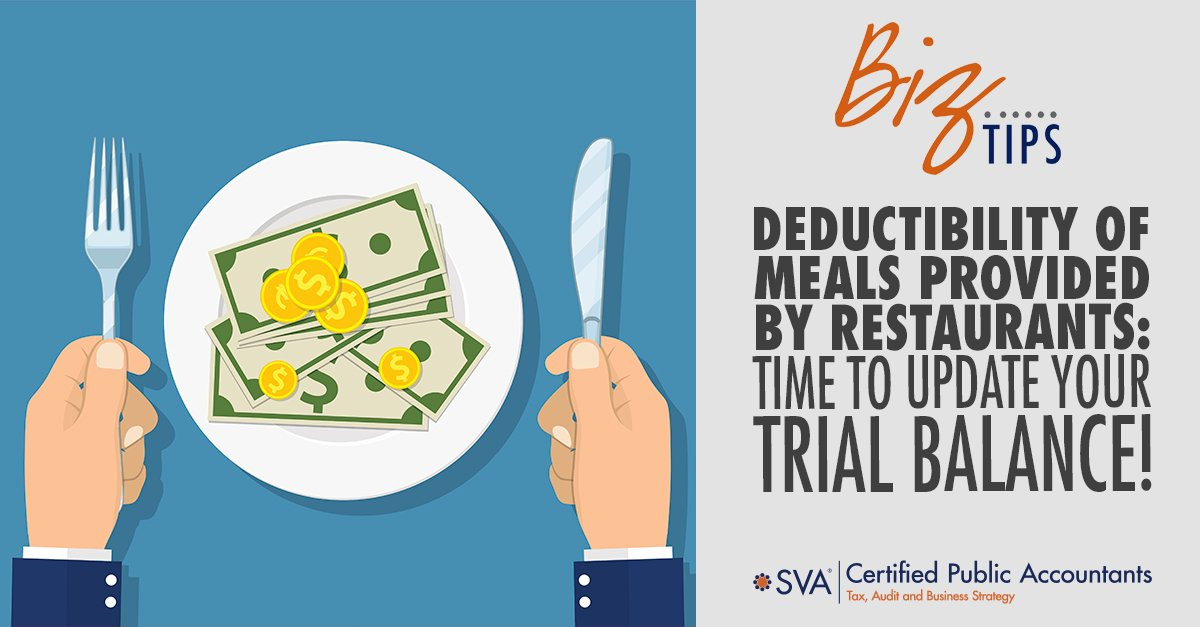 Deductibility of Meals Provided by Restaurants: Time to Update Your Trial Balance!
