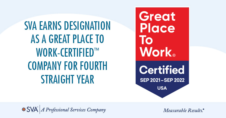 SVA Earns Designation as a Great Place to Work-Certified™ Company For Fourth Straight Year