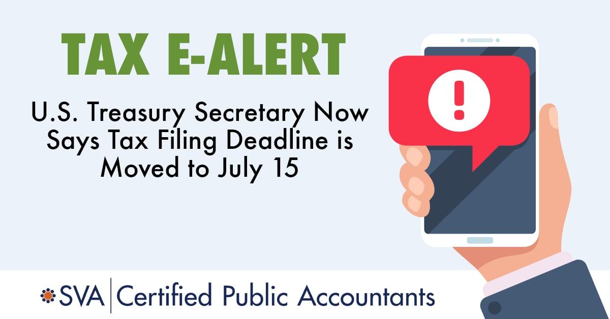 U.S. Treasury Secretary Moves Tax Filing Deadline to July 15
