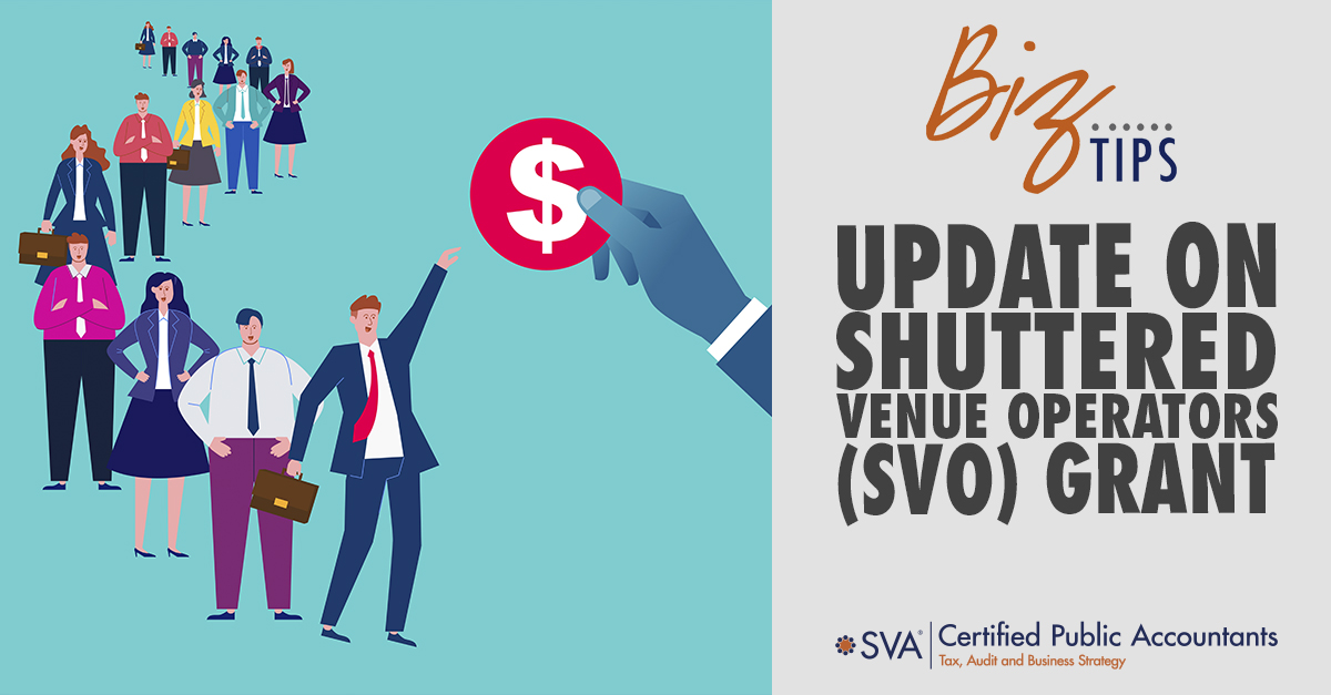 Update on Shuttered Venue Operators (SVO) Grant